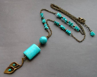 Long necklace Antique Brass chain with turquoise. necklace with pendant stones. gift for her. gift for women. birthday gift.