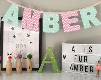Mint Green and Pink Personalised Name Bunting