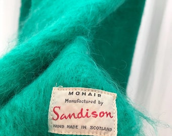 Sandison Hand Made Vintage Green 100% Mohair Shawl Made in Scotland