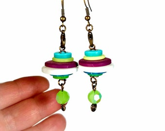 Fun and Funky Earrings, Upcycled Earrings, Button Earrings,  Repurposed Recycled Upcycled Jewelry,  Eclectic Jewelry, Dangle