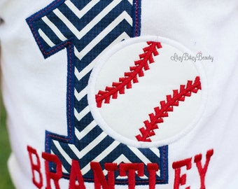 First birthday Baseball Shirt - Baby Boys Birthday Shirt - Embroidered Shirt Or Bodysuit - Baseball Shirt - Personalized Custom Name