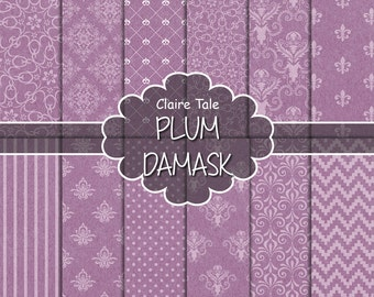 """Damask digital paper: """"PLUM DAMASK"""" with plum damask backgrounds and classical damask patterns for scrapbooking"""