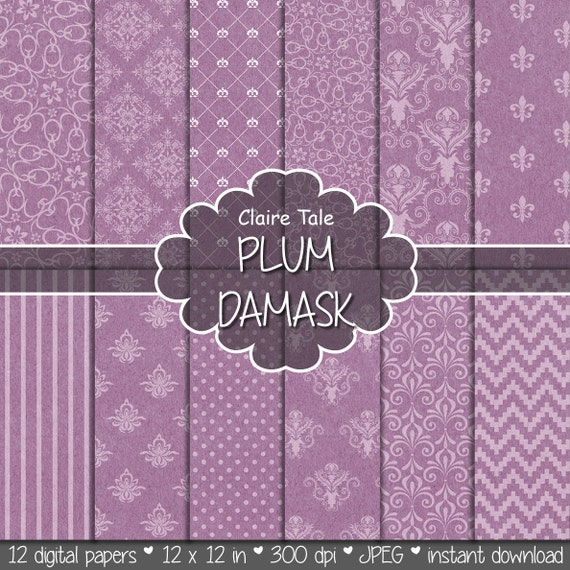"Damask digital paper: ""PLUM DAMASK"" with plum damask backgrounds and classical damask patterns for scrapbooking"