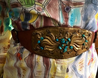 Hammered Brass and Turquoise Symboli Waist Belt. Numbered.