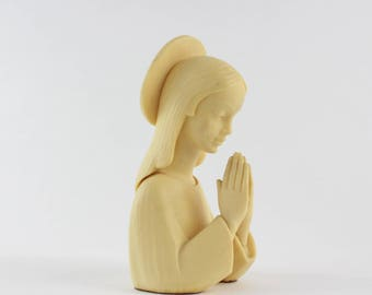 Vintage Plastic Praying Mary Bust - Our Lady of Grace Blessed Virgin Mary Statue