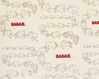 """Nursery Fabric/ Animal Fabric:  BABAR - Traveling Elephants Cream by Camelot Fabric  100% cotton fabric by the yard 36""""x44"""" (CA124)"""