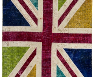British Flag - Union Jack design Contemporary Patchwork Rug. Handmade from overdyed vintage Turkish carpets. CUSTOM OPTIONS Available   d715