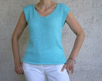 SALE % 25 off Women Cotton Sweater in Aqua Blue, Summer Fashion