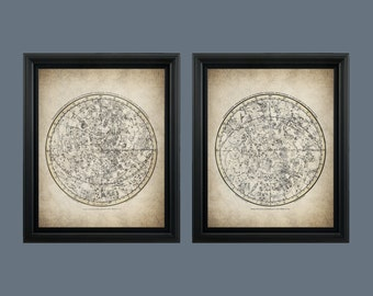Star Map - Start Chart of Northern & Southern Hemisphere - Astronomy - Constellation Map Vintage - Instant Download - Ready to Print - #022