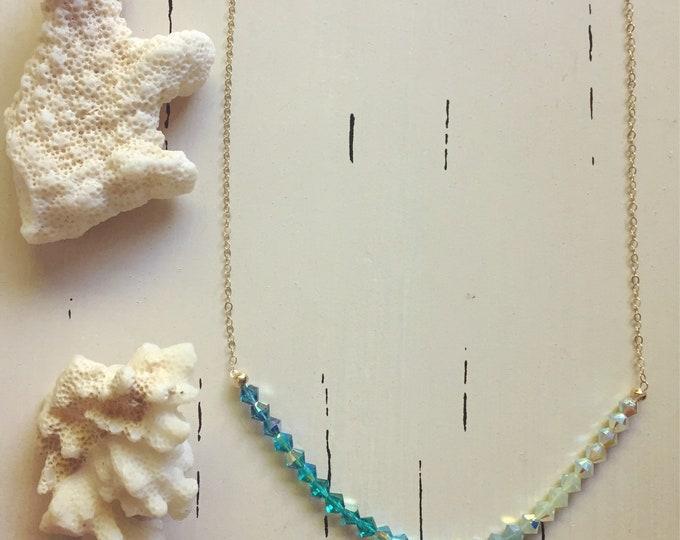 "Swarovski Crystal Necklace/Tropical Sea/18"""