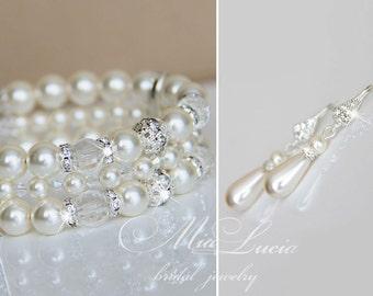 Bridal Jewelry Set, Pearl Bridal Jewelry Set, Ivory Pearl Earrings Bracelet, Wedding Jewelry set, Wedding Jewlery, Bridal Jewlery e14-b09