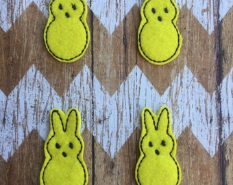 Set of 4 Felt Bunnies - Easter Peeps Hairbow Scrapbooks Planner Yellow Pink Purple - READY TO SHIP
