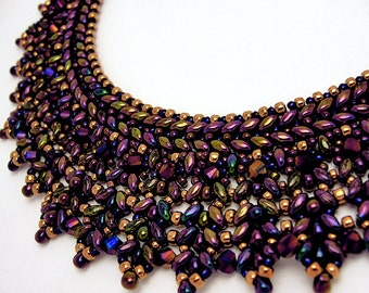 Royal Purple and Gold Super Duo Necklace