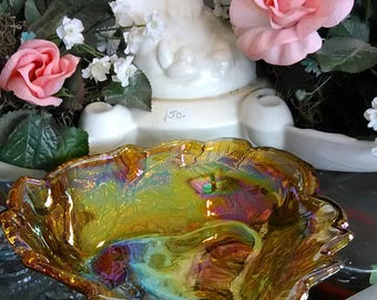 Vintage Carnival Candy Dish Amber Iridescent Carnival Glass Candy Dish