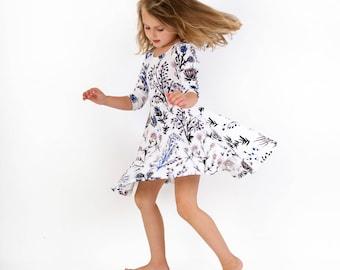 Floral Twirl Dress- Toddler Dress- Easter Dress- Flower Kids Dress- Organic Cotton Girl Dress- Christmas Dress -Thief&Bandit®- Floral Dress
