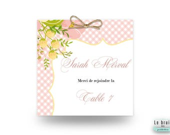 Escord card / marque place mariage thème rétro champêtre