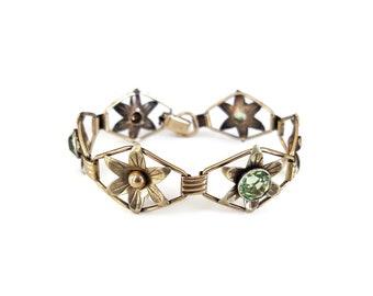 12K Gold Filled Sterling Green Stone Bracelet - Providence Stock Company, PR. ST. Co., Peridot Glass Gems, Flower Bracelet, Vintage Bracelet