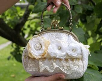 white ivory bridal handbag wedding accessories bag for bride wedding handbag bridesmaids bag floral bridal bag flower bag christening gift