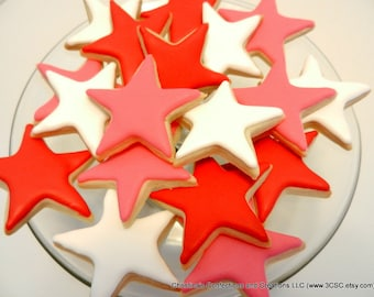 """2.5"""" Mini Stars decorated sugar cookies great for any celebration or as an add on (#2313)"""