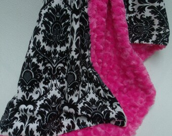 Black Damask and Hot Pink Minky Baby Blanket, Black White Damask Blanket, Baby Girl Pink Minky Baby Blanket