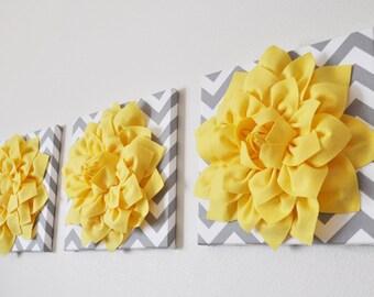 "Wall Hangings Home Decor - Yellow Dahlia Flowers on Gray and White Chevron 12 x12"" Canvas Wall Art Set - Housewarming Gift -Yellow Nursery"