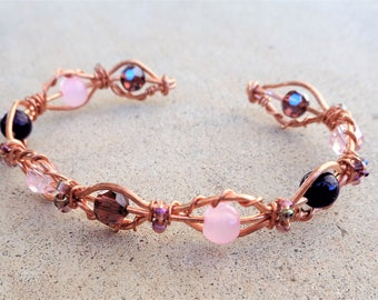Copper Wire Wrapped Pink and Purple Beaded Cuff Bracelet By Distinctly Daisy