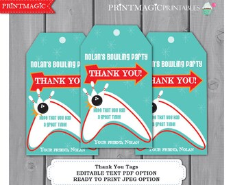 Blue Red Bowling Party Thank You Tags - Bowling Birthday Party - Bowling Favor Tag- Bowling Party Thank You - Editable Text Instant Download