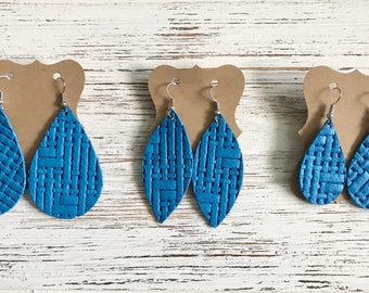Azure blue basketweave leather earrings, Kansas City royals, gifts for her