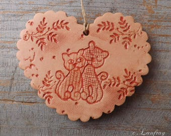 Terra cotta and Red enamel, vintage deco footprints lace heart and cats in love couple