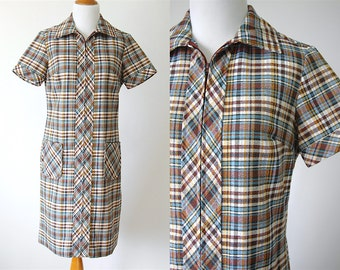 60s Blue Brown Yellow Plaid Short Sleeve Dress with Pockets- Country Miss Dress - Size Medium