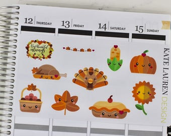 Thanksgiving Planner Stickers, Thanksgiving Stickers, Thanksgiving Dinner, Autumn Stickers, Fall Stickers, Fall Planner Stickers