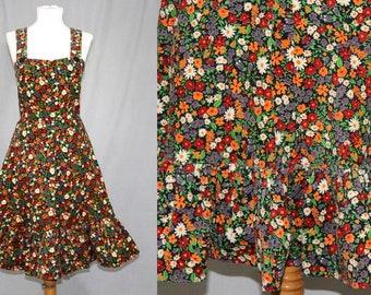 Vintage 70s FLORAL Corduroy Ruffle Jumper Retro A Line Sun Prairie Dress S M