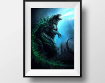 Print - Godzilla - Gojira - King of Beasts - Japanese - Kaiju - Dragon - Fire - Atomic - Blue - Art - Print - Illustration - Large