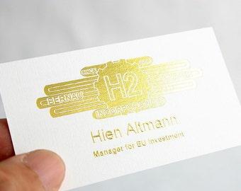 200 Business Cards - emboss and metallic foil - 16 PT heavy linen stock -  custom printed