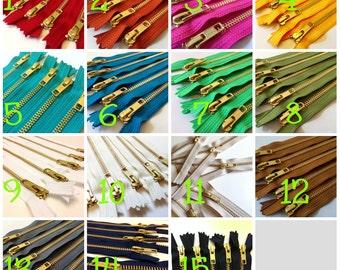 Metal zippers, 10 inch brass zippers, Pick 25, burnt orange, olive, brown, red, grey, black, green, blue, sunflower, pink fuchsia, white