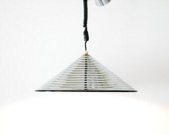 "Vintage 1970's Modernist Stepped Chrome Cone Pendant Lamp // 21"" Diameter // Italian Futurist, Devo, Mid Century Modern, MCM, Hipster, Mod"