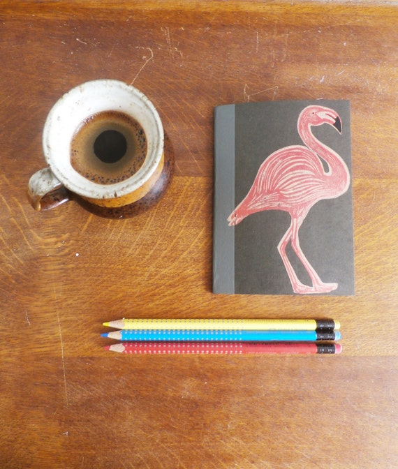 Flamingo Notebook, MUJI, A6 Recycled Notebook, Lined, Hand Printed Linocut, Printmaking, Black, lined notebook, notebook gift,