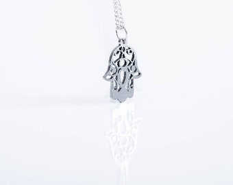 Hamsa Hand Necklace! Sterling silver chain!