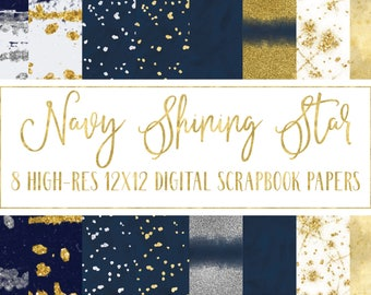 star digital paper-navy digital paper-gold digital paper-silver digital paper-celestial digital paper-glitter digital paper-royalty free