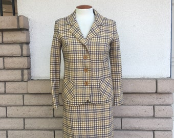 Vintage 60s Plaid Wool Skirt Suit Mustard High Waisted Pencil Skirt by Country Set Size Small