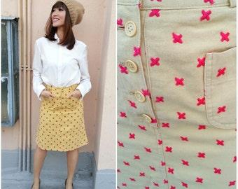 CLEARANCE SALE/ Vintage Skirt/ Multiple of X Skirt/ XS Skirt/ Small Skirt/ Yellow Mustard Skirt/ Autumn Fall Skirt/ Pocket Skirt/ Denim