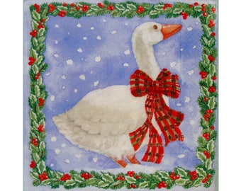 Set of 3 napkins NOE022 goose in the snow, tree and Holly