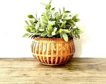 Vintage Boho Planter  / Bamboo Bohemian Planter Basket / Wicker Woven Planter / Basket /  Indoor Jungalow Decor