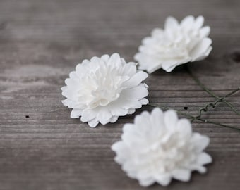 Craft flower etsy white craft flowers paper flowers decorative flowers head crown flowers artificial flowers costume flowers wreath roses mightylinksfo Choice Image