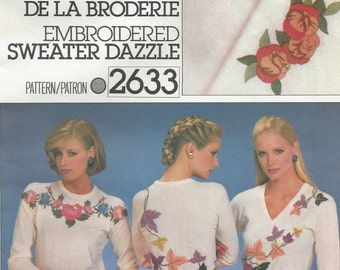 1980s Embroidery Heat Set Transfers for Sweaters Autumn Leaves Rose Motifs Flowers Crewel and Metallic Yarn