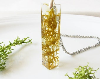 Real Moss Necklace Terrarium Jewelry Bar Necklace Resin Jewelry Resin Necklace Green Bar Jewelry