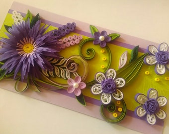 Quilling Card, Birthday Quilled Card, Greeting Card, Purple Flower, Quilling Handmade Card, Mother Card, Paper Quilling Card