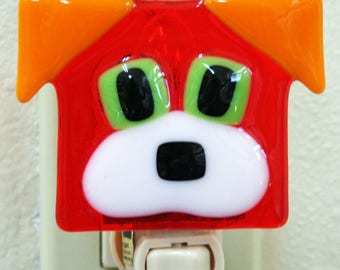 Glassworks Northwest - Dog Night Light Orange - Fused Glass Art