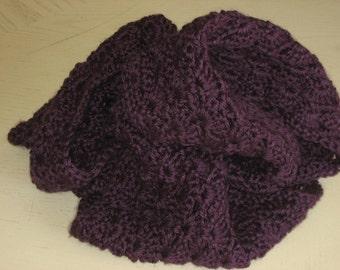 Handmade crochet infinity mobius scarf in purple