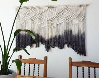 Large macramé wall hanging. Your choice of dipdye color. weaving/bohemian wedding backdrop/boho decor/tapestry/wall art/decor.